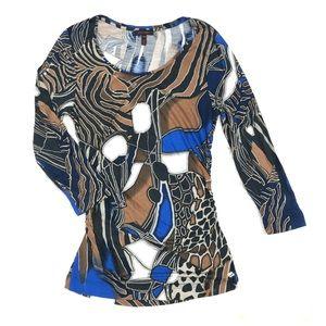 Escada blue, black, tan animal pattern, size 34.